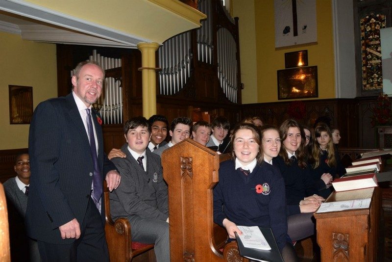 Jonathan Carter with Sligo Grammar School choir