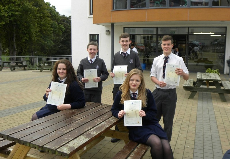 Junior Cert students with their certificates