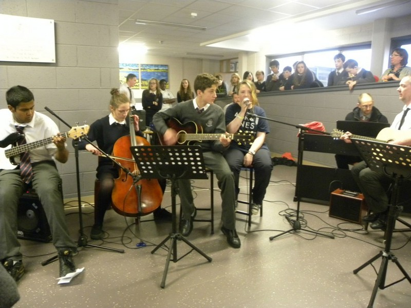 Lunchtime gig held in foyer of school 2015
