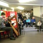 Trad music in the school foyer