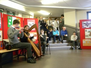 Trad music was played during lunchtime for Seachtain Na Gaeilge in the school