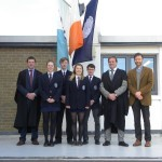 (L-R) Mr.Staunton, Head Girl, Head Boy, Deputy Head Girl, Deputy Head Boy, Mr.Hall and Rev.Bamber