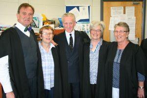 Left to Right: Michael Hall (Headmaster), Breege Swinburne, David Johnston, Ruth Galbraith, Barbara Hosie.