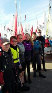 SGS sailing team L to R: Max Van Der Grijn, Gus Bamber, Sarah White, Imogen Wray, Matthew White, Samuel Wray