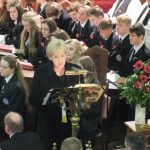 Minister Heather Humphries reads a lesson at the Sligo Grammar School Service of Remembrance and Reconciliation