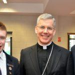 Papal Nuncio Charles J. Browne with Head Boy andrew Wood-Martin and Deputy Head Boy Jude Perry jpg